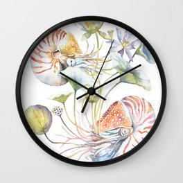 Nautilus and Lotus Surreal Watercolor Illustration Sea Animal Botanical Design Wall Clock