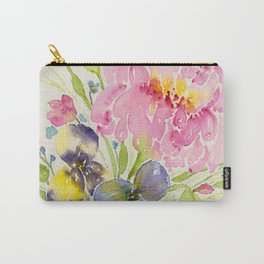 Pink Peony and Pansy Floral Bouquet - Watercolor Flowers Carry-All Pouch
