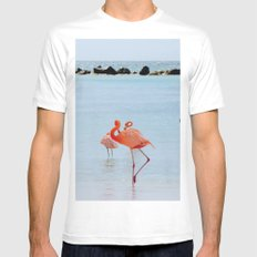 A Flamboyance of Flamingos White MEDIUM Mens Fitted Tee