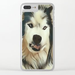 Angry Wolf - Wheres My Coffee ? Clear iPhone Case