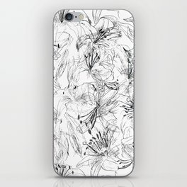 lily sketch black and white pattern iPhone Skin