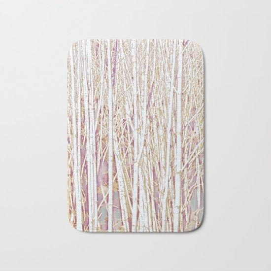 Pastel Paint Birches Bath Mat