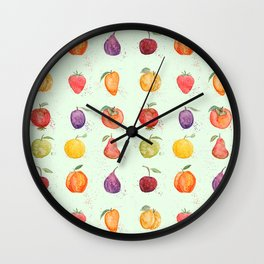 fruit collection watercolor Wall Clock