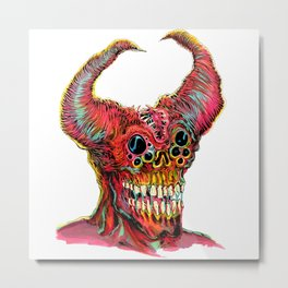 Demon Head Metal Print