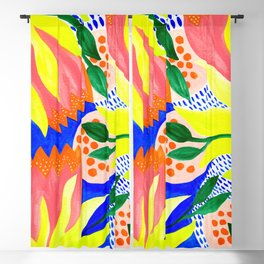 Bold Flowers on Blue Blackout Curtain