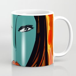 Portrait of the blue girl with red hair with orange and yellow Coffee Mug