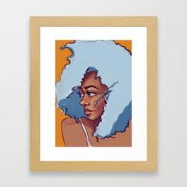 Blue Haired Bombshell Framed Art Print