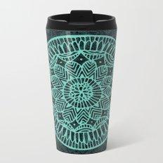 Blue Doodle Mandala Metal Travel Mug