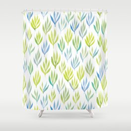 Watercolour Ferns | Green and Blue Shower Curtain