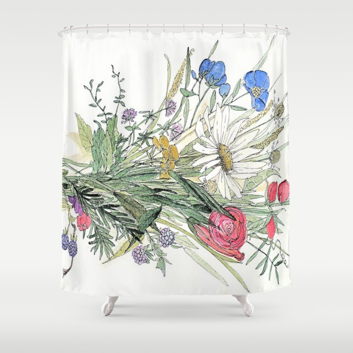 Bouquet Of Wildflower Shower Curtain By Betweentheweeds