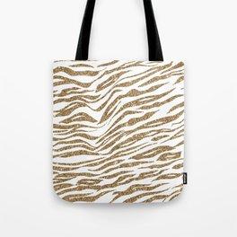 White & Glitter Animal Print Pattern Tote Bag