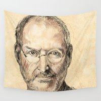 steve jobs Wall Tapestries featuring STEVE by Stan Kwong