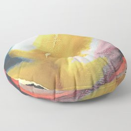 Ambition: a colorful abstract piece in bold yellow, blue, pink, red, and gold Floor Pillow