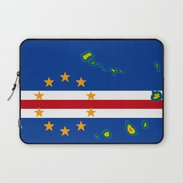 Cape Verde Flag with Map of the Cape Verde Islands Laptop Sleeve