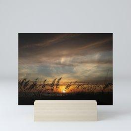 Sunset and Dark Clouds  Mini Art Print