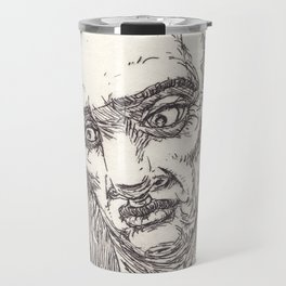 face of a old man - handmade art etching Travel Mug