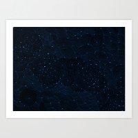 Dark Blue Nebulae Art Print