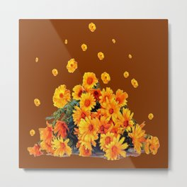 COFFEE BROWN SHOWER GOLDEN FLOWERS Metal Print