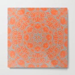 Psychedelic edgy mandala in orange and blue, kaleidoscopic design Metal Print