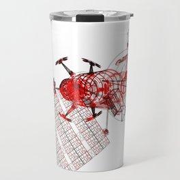 Explorer Schematic Red on White Travel Mug