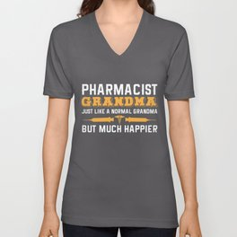 Pharmacist Grandma Joke Grandmother Druggist Unisex V-Neck
