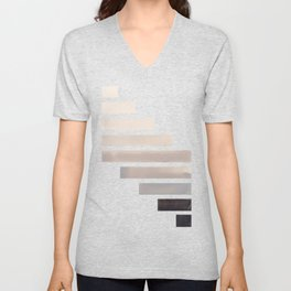 Grey Midcentury Modern Minimalist Staggered Stripes Rectangle Geometric Aztec Pattern Watercolor Art Unisex V-Neck