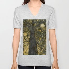 Pecan Tree and Moon Unisex V-Neck