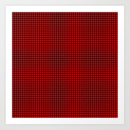 Australian Flag Red and Black Houndstooth Check Art Print