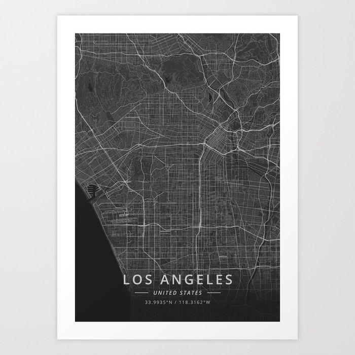 Los Angeles, United States - Dark Map Kunstdrucke