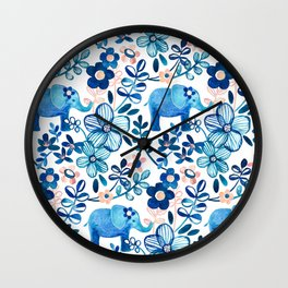 Blush Pink, White and Blue Elephant and Floral Watercolor Pattern Wall Clock