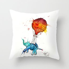 HOT AIR ELEPHANT Throw Pillow