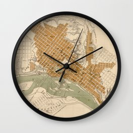 Vintage Map of Richmond VA (1864) Wall Clock
