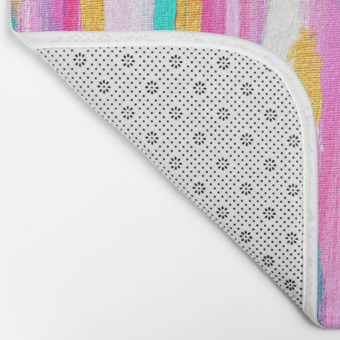 Pink And Navy Abstract Bath Mat