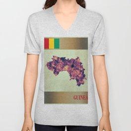 Guinea Map with Flag Unisex V-Neck