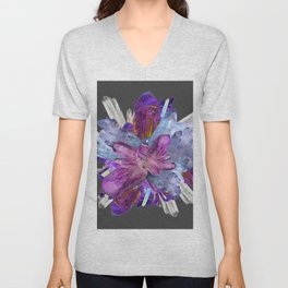 CRYSTALLINE RADIATING CLUSTER OF AMETHYST & QUARTZ Unisex V-Neck
