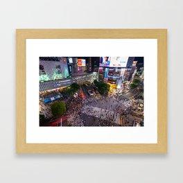 Crowd walking across Shibuya crossing in Tokyo, Japan Framed Art Print
