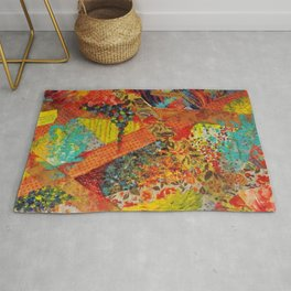 Pieces of Me - Gorgeous Bold Fabric Painting Collage Love Colorful Rainbow Yellow Red Stripes Floral Rug