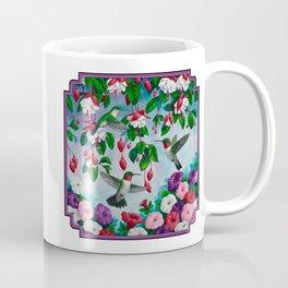 Hummingbirds in Fuchsia Flower Garden Coffee Mug