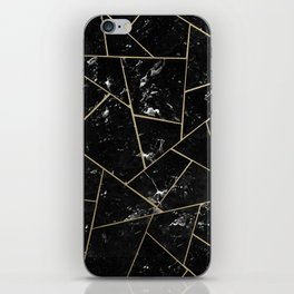 Black Marble Gold Geometric Glam #1 #geo #decor #art #society6 iPhone Skin