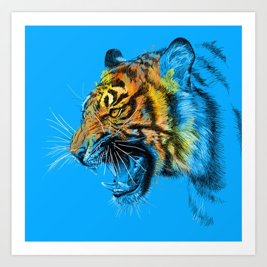 Tiger Roaring Wild Animal Roar Art Print