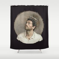 castiel Shower Curtains featuring Castiel. White crown. by Armellin