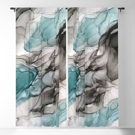 Smoky Grays and Green Abstract Flow Blackout Curtain