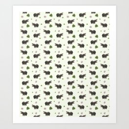Hippos and Flowers Art Print
