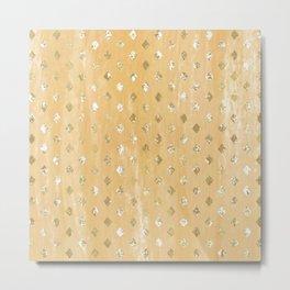 neutral gold diamond pattern texture Metal Print