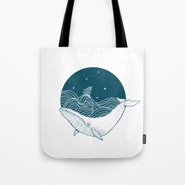 Minimalist Sperm Whale Art - Geometric Ocean Artwork - Boat Tote Bag