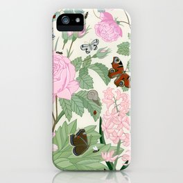Pink flowers and butterflies iPhone Case