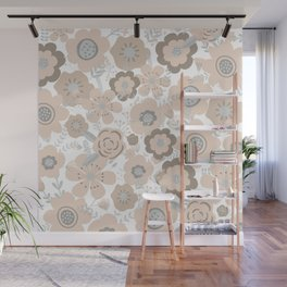 Wall Flowers, Wild Flowers, Light Blush Pink Wall Mural
