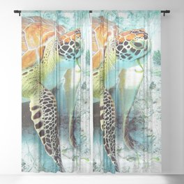 Watercolor Green Turtle Sheer Curtain