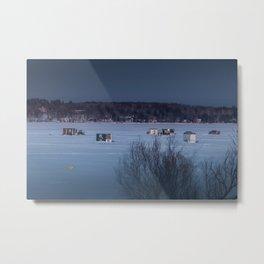 Ice Fishing on Fish Hook Lake Metal Print