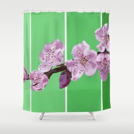 Cherry Blossoms on Greens Shower Curtain